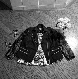 Michael Kors faux black leather blazer jacket